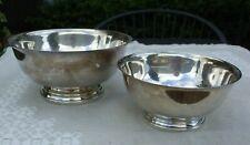 "Set of 2 - GORHAM E P silverplate Paul Revere bowls, 8"" & 6 1/2"""