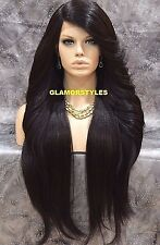 "38"" Long Layered Dark Brown Full Lace Front Wig Heat Ok Hair Piece #2 NWT"