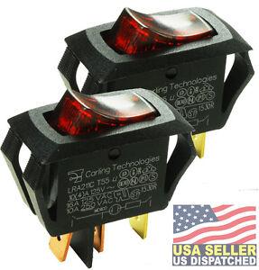 2pcs Carling Technologies LRA211-CR-B/125N   Switch, Rocker SPST, 16A, 250V, RED
