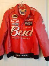Nascar Dale Earnhardt Jr Budweiser Embroidered Red Leather Jacket XL Vintage.