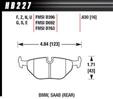 Hawk Disc Brake Pad Rear for BMW 318i, 318is, 318ti, Saab 9-5 / HB227S.630