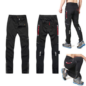 Mens Cycling Trousers Casual Quick Drying Sports Pants Elastic Reflective Bottom