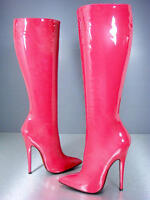 CQ COUTURE KNEE HIGH EXTREME HEELS BOOTS STIEFEL STIVALI LEATHER FUXIA PINK 38