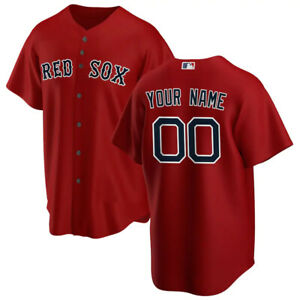 Boston Red Sox Red Custom Name & Number All Over Print Baseball Jersey S-4XL