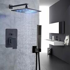 Bathroom 2-way Mixer Shower Faucet Set 8-inch LED Light Rainfall Showerhead