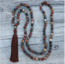 8MM Matte Natural Picasso Jasper Knotted 108 Mala Round Beads Necklace 32 Inch