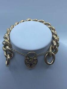 """9ct Gold Victorian Heart Padlock Bracelet For Women - 8"""", 8mm, 50g"""
