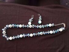 Jewels By ParkLane Blue Glass beads -NWOT- necklace/earrings~Waterfall ~ RV>$100