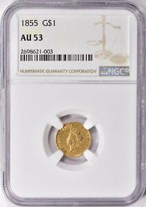 1855 Indian Princess Gold Dollar NGC AU-53