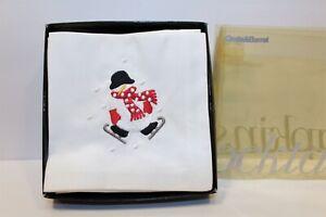 Crate & Barrel Skating Snowman Fabric Napkins (8) MIB