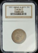 1853 Arrows & Rays Seated Quarter NGC XF45 Toning!