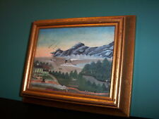 MINI FRAMED Pat Welchs Original Country Arts print of primitive oil painting