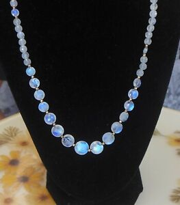 Natural Moonstone necklace blue flash faceted graduated 14GF clasp 20 inches
