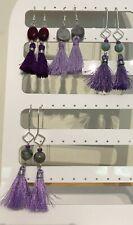 Purple Tassel & Stone Bead Dangle Earrings on Silver Plated Wires.