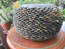 COLLECTIBLE FOLK ART HAND CRAFTED FLAT ROUND PEBBLES, ROUND PLANT POT GARDEN ART