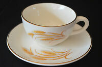Golden Wheat Coffee Cup & Saucer U.S.A. By Homer Laughlin With 22K Gold Trim
