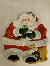 Retired - Fitz and Floyd Santa Canapé Plate/ Wall Hanging - 2004 cookies, cat