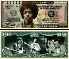 Jimi Hendrix Million Dollar Bill Fake Play Funny Money Novelty Note +FREE SLEEVE