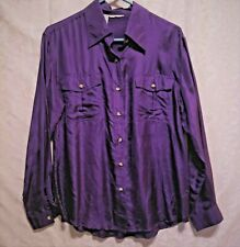 No lable women  shirt size M color purple 100% silk long sleeve pre owned good
