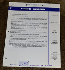 1956 Willys Motors Jeep Service Bulletin 323 Powr-Lok Differential CJ3B CJ5 CJ6