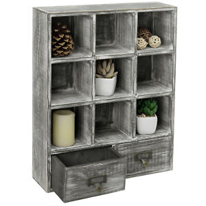 MyGift Wall Mounted Graywashed Wood 9 Cube Shadow Box Curio Shelf with 2 Drawers