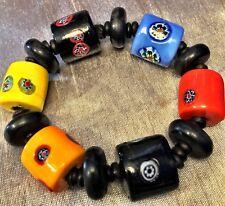 Bracelet W/Wood Accents BoHo Hand-Painted Ceramic Multi-Color Bauble Stretch