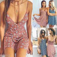 Sexy Women Sleeveless Strappy Floral Long Maxi Dress Summer Beach Sundress