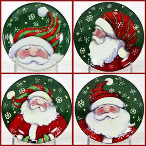"MWW Market SNOW MUCH FUN SANTA 4.5"" Mini Plate Set 4P Christmas Susan Winget"