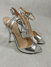 Damas Zapatos Talla 5 Tacos Little Mistress plateado de fiesta de noche de boda