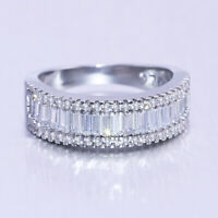 Fashion Jewelry 925 Silver Wedding Band Rings for Women White Sapphire Size 6-10