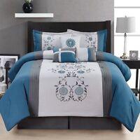 carleton 7 piece blue brown comforter bedding bedroom set bed in a