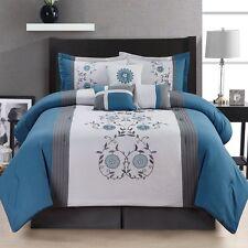 7 Piece Comforter Set King Size Bedroom Bedding Bed in a Bag Bedspread Blue New