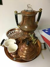 Antique Landers Frary & Clark Universal Copper and Brass Coffee Urn complete set