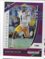 2020 Panini Prizm Draft Picks #158 Kristian Fulton LSU Titans Purple Prizm RC