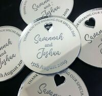 Personalised Wedding Favours Engraved Silver Place Setting Wood Table Decoration