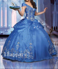 Princess Blue Crystal Embroidery Ball Gown Quinceanera Dress Prom Party Dresses