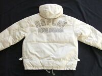 Replay Blue Brand Jeans Down Jacket Winter Beige Tiger Hood Size: XXL Tip Top