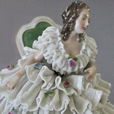 Antique DRESDEN Porcelain Figurine LADY Seated LACE Ruffles + Encrusted FLOWERS