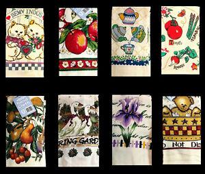 6 x Tea Towel Towels Teatowels Dishcloths 100% Cotton Printed Pattern Kitchen