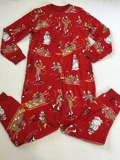 Nick & Nora S Red Fleece Sock Monkey Snowman One Piece Pjs Pajamas No Feet