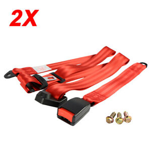 2sets Red 3 Point Harness Car Auto Safety Belt Seat Belt Universal Fits Chevy