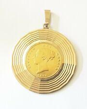 Queen Victoria 1855 Half Sovereign in Attractive Gold Pendant