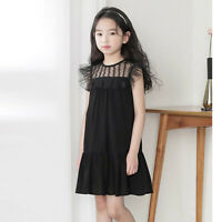 Kid Girl Princess Dress Mesh Tulle Lace Splice Summer Party Casual Cloth Costume