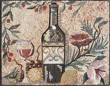 "28""x 22"" Handmade Kitchen Art Wine Beverage Home Wall Decor Marble Mosaic Tile"