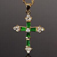 Riva 18K Gelbgold Vergoldet Kreuz Gruen Smaragd Trauung Anhaenger Halskette