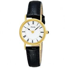 Ladies Pulsar PTA512X1 Gold Plated Black Leather Strap Watch . RRP£59.95