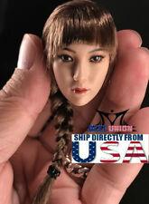 """1/6 Female Head Sculpt SINGLE Braided Brown Hair For 12"""" PHICEN SUNTAN Figure"""