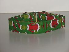"""1.5""""Small (whippet) Martingale Dog Collar The Grinch"""