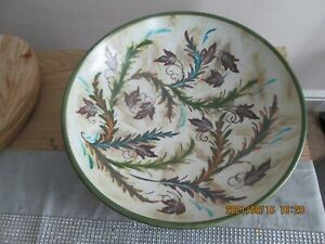 Very Large Vintage Denby Gly Colledge Hand Painted Stoneware Fruit Bowl Signed