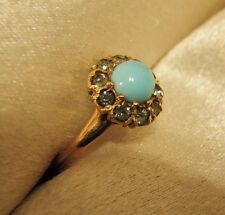 LOVELY RARE ANTIQUE OSTBY BARTON 10K SOLID ROSE GOLD TURQUOISE RING TITANIC!